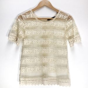 Zara | Crochet Lace Cream Short Sleeve Blouse